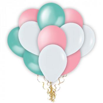 Облако бирюзовых, розовых, белых шаров