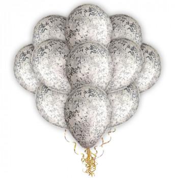 Облако прозрачных с серебряным конфетти